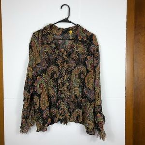 3/$30 Psychedelic 70's paisley button up Sz XL